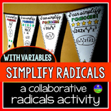 Simplifying Square Roots with Variables Pennant Activity