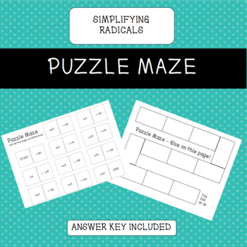 Simplifying Radicals (without variables) Puzzle Maze Activity