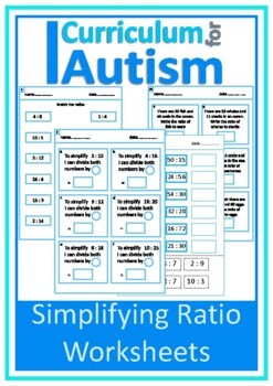 Simplifying Ratio Worksheets, Autism, Special Education