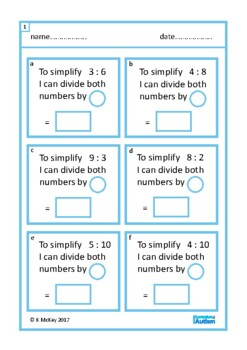 Simplifying Ratio Worksheets Autism Special Education