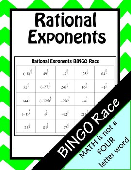 Simplifying Rational Exponents BINGO Race