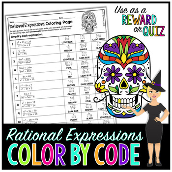 Simplifying Rational Expressions Math Color By Number or ...