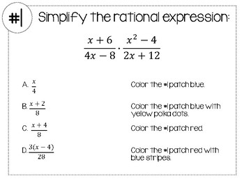 Simplifying Rational Expressions Doodle-ing Math Stations Activity