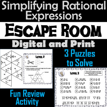 Simplifying Rational Expressions Game: Algebra Escape Room Math Activity