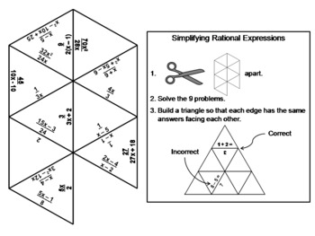 Simplifying Rational Expressions Game: Math Tarsia Puzzle