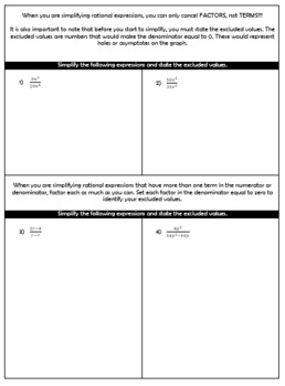 Simplifying Rational Expressions Guided Notes and HW