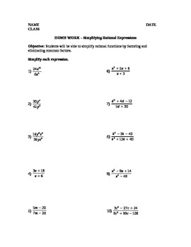 Simplifying Rational Expressions Lesson Plan