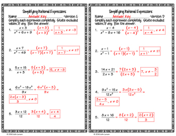 Simplifying Rational Expressions Level 1 Fluency Check  :No Prep Fluent in Math