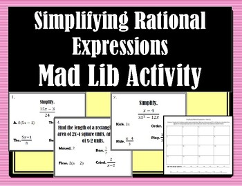 Simplifying Rational Expressions Mad Lib