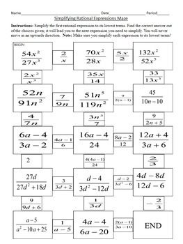 Simplifying Rational Expressions Maze by 4 the Love of Math | TpT