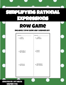 Simplifying Rational Expressions Row Game