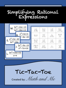 Simplifying Rational Expressions Tic-Tac-Toe