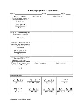 Simplifying Rational Expressions having Polynomials Graphic Organizer