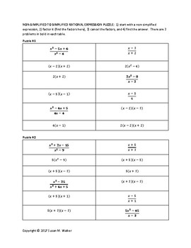 Simplifying Rational Expressions with Scaffolding and Hints Activity