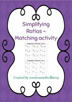 Simplifying Ratios - Matching activity
