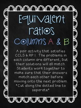 6th Grade Math Simplifying Ratios Partner Practice