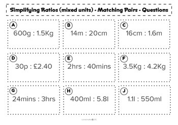 Simplifying Ratios (with mixed units) - Matching activity