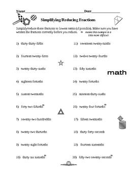 Simplifying Reducing Fractions 1