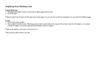 Simplifying Roots Matching Cards
