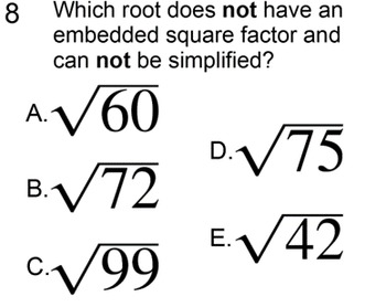 Simplifying Roots without a Calculator 2 Lessons and 4 Assignments for PDF