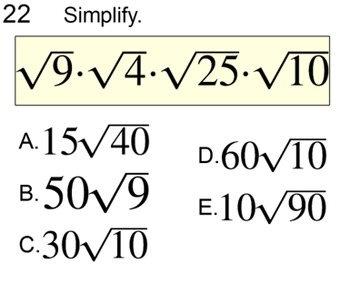 Simplifying Roots without a Calculator 2 Lessons and 4 Assignments for SMART