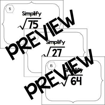 Simplifying Single Radicals Task Cards