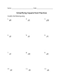 Simplifying Square Root Radicals Practice