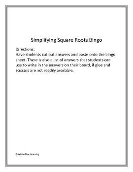 Simplifying Square Roots Bingo