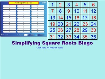 Simplifying Square Roots Bingo for the SMARTboard