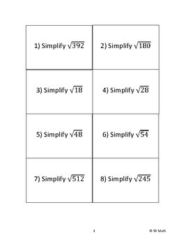 Simplifying Square Roots - Entrance Cards