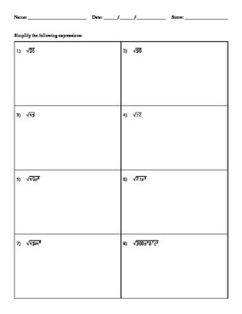 Simplifying Square Roots - H&I Practice Sheets Mini