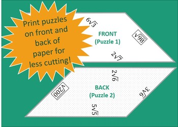 Simplifying Square Roots Tangram Puzzle Activity