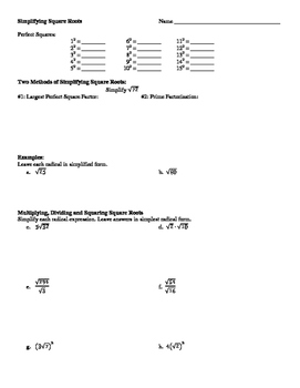 Simplifying Square Roots Worksheet with Puzzle