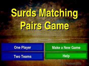Simplifying Surds Interactive Matching Pairs Game
