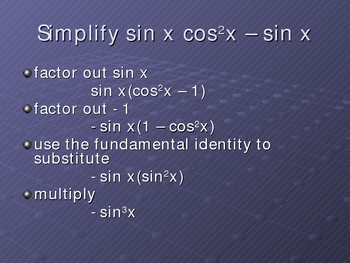 Simplifying Trigonemetric Expressions