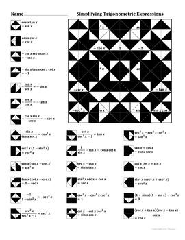 Simplifying Trigonometric Expressions Color Worksheet