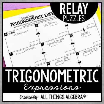 Simplifying Trigonometric Expressions Relay Puzzles