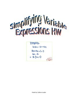 Simplifying Variable Expressions Homework