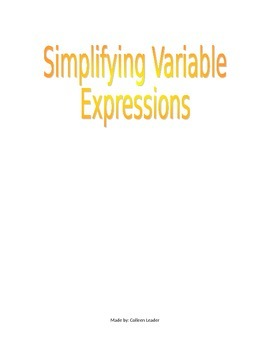 Simplifying Variable Expressions Lesson