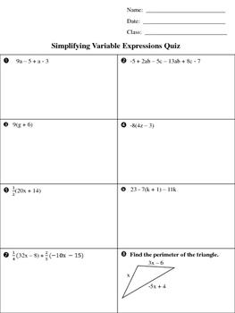 Simplifying Variable Expressions Quiz