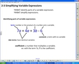Simplifying Variable Expressions Smartboard