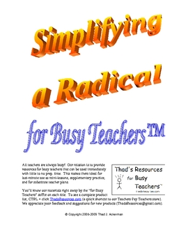 Simplifying a Radical for Busy Teachers