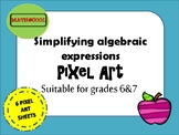 Simplifying algebraic expressions pixel art