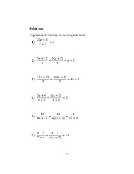 Simplifying algebraic fractions 2