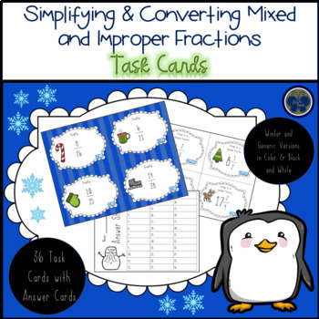 Simplifying and Converting Mixed/Improper Fractions Task Cards with Answer Cards