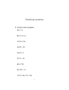 Simplifying expressions by collecting like terms 3