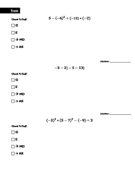 Simplifying expressions containing integers using order of operations