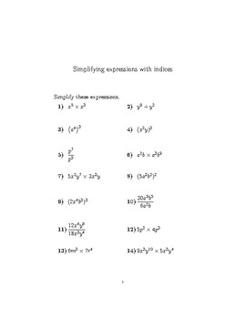 Simplifying expressions with indices