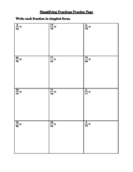 Simplifying or Reducing Fractions Notes and Practice Pages
