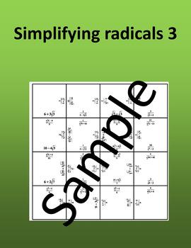 Simplifying radicals 3 – Math puzzle